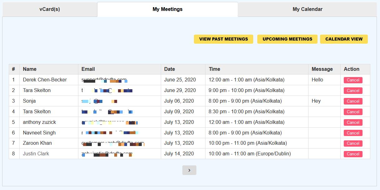 booked meetings